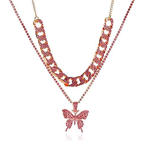 LKHJ Doble Capa Grande Colgante Colgante Collar de Diamantes de imitación de Oro de Color Oro Grueso Collar de Cadena de Oro joyería-B