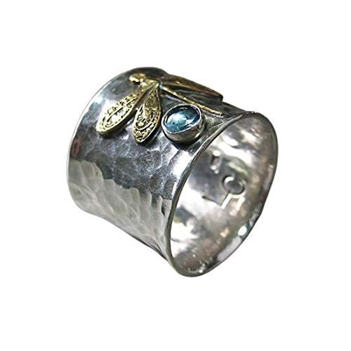 WFZ17 Elegante anillo de dedo con incrustaciones de diamantes de imitación con patrón de libélula para mujeres y niñas