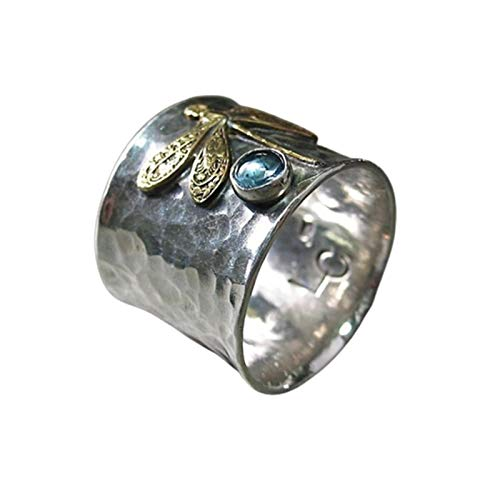 WFZ17 Elegante anillo de dedo con incrustaciones de diamantes de imitación con patrón de libélula para mujeres y niñas, multi US 10