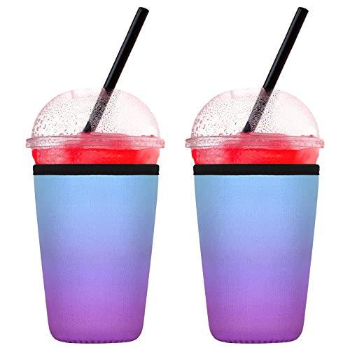 2 Stück Eiskaffee-Hüllen, 680 ml, wiederverwendbar, Neopren, Isolierhülle für Getränke, kalte Getränke, Becherhalter für Starbucks-Kaffee, McDonalds (2 Packungen mit 680 ml, Farbverlauf Lila)