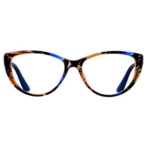 Blue Light Blocking Glasses Women Bluelight Blocker Computer Cateye Clear Cat Eye Eyeglasses Frame Pattern ANDWOOD