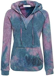 JIUZHOUTONG Pink Yellow Blue Tie Dye Color Fleece Hoodie Sweatshirt Jumper Top Outwear Jacket Plus Size