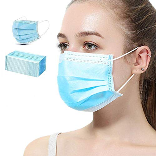 VCAN 3-Ply Safety Face Mask Disposable Elastic Earloop Blue 50Pcs