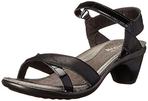 Naot Women's Cheer Wedge Sandal, Jet Black Leather/Black Patent Leather, 38 EU/6.5-7 M US