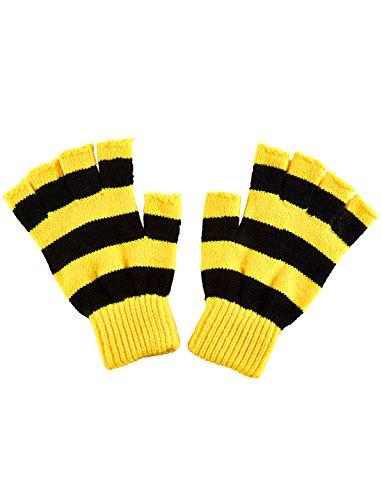 Deiters Strickhandschuhe fingerlos schwarz/gelb