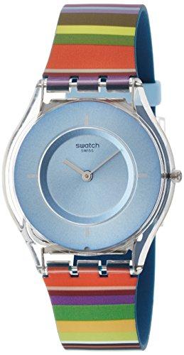 Swatch Damen Digital Quarz Uhr mit Silikon Armband SFE107