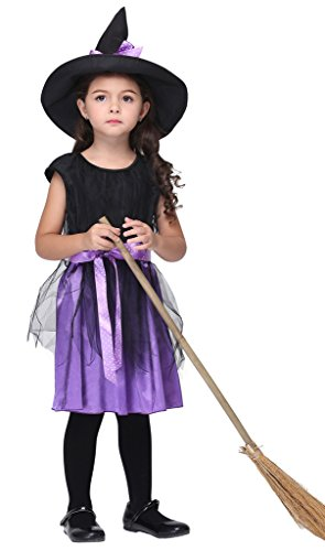 Bigood Costumes Déguisement Sorcière Magique Maid Enfant Fille pour Halloween L