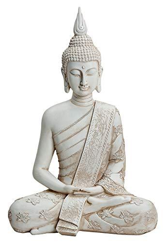 NAMENLOS Thai-Buddha-Figur, meditierend, weiß | meditierend, Skulptur, Statue, Deko-Artikel, H 40 cm