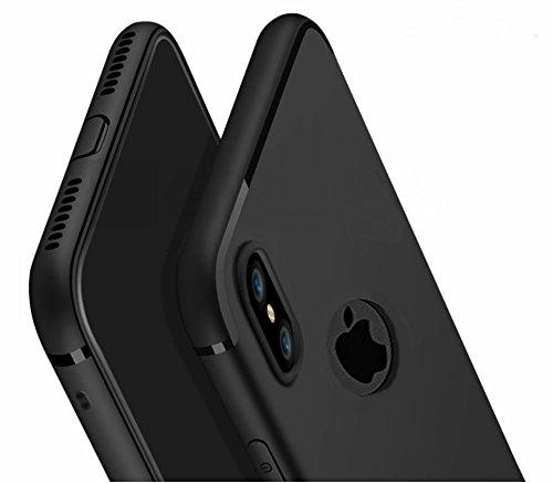 [PfX] Hülle kompatibel mit iPhone XS / X in Schwarz Matt - TPU Silikonhülle [Unterstützt Kabelloses Laden] mit integriertem Staubschutz (Black-Line)