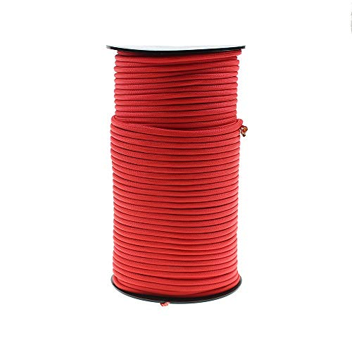 PSKOOK 100m Paracord Lanyard Parachute Cord Multifunktion Paracord Rolle Zelt Seil Fallschirmschnur Paracord Ultimate Survival Parachute Cord Strapazierfähiges Lanyard 7 dreifach Stränge im Kern (Rot)