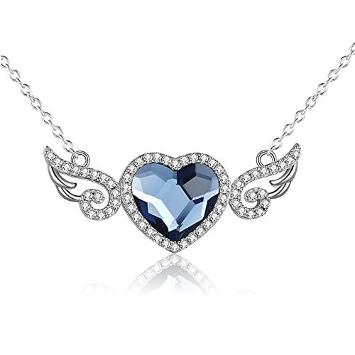 YFN Collar con forma de corazón de alas de ángel, plata de ley, colgante de corazón de cristal, regalo para mujeres y niñas, Plata esterlina, Cubic Zirconia,