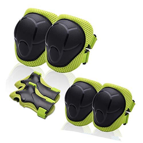 Protective Gear Set for Kids/Boys/Girls/ToddlersKnee Pads Elbow Pads Wrist GuardsAdjustable Strapfor Skateboarding Inner Skateboard Cycling Skating Bike BMX Scooter 6Pcs in 1 (green)