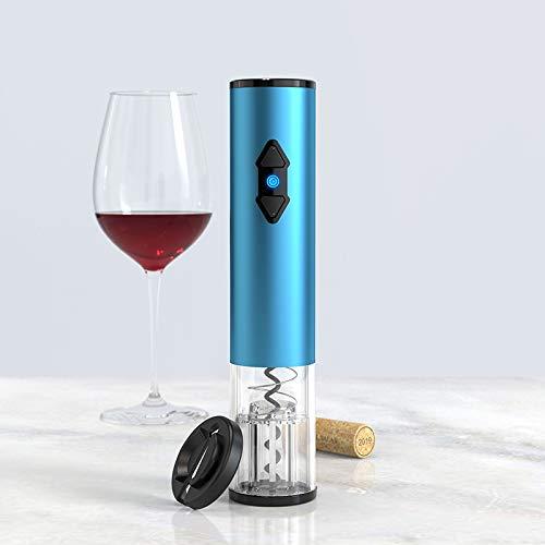 Huixindd Sacacorchos de Vino eléctrico para un abridor de Botellas de Vino eléctrico automático Sacacorchos con Cortador de lámina, Juego de Regalo 2 en 1 para Amantes del Vino (Color : Blue)