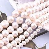 YSTSPYH Piedras Preciosas 9-10,10-12,11-14mm Blanco Blanco Cuentas de Piedra Natural de Agua Dulce para la joyería de la Pulsera de la Collar de Las Mujeres de DIY Que Hace 14.5'
