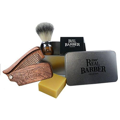 Fitters Real Barber Rasier Kit: Mit hochwertigem Rasierpinsel (vegan), Bart- und Rasierseife 50 g und edlem Bartkamm aus Holz des Santalum-Baumes