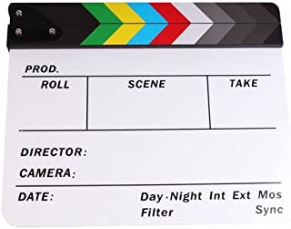 PMLAND Professional Studio Camera Photography Video Acrylic Clapboard Dry Erase Director Film Movie Clapper Board Slate with Color Sticks 10 x 12 Inch (White)