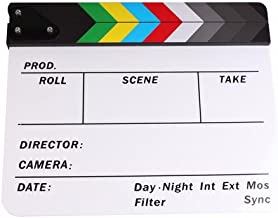 PMLAND Professional Studio Camera Photography Video Acrylic Clapboard Dry Erase Director Film Movie Clapper Board Slate wi...