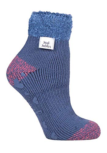 HEAT HOLDERS - Damen Abs Antirutsch Fleece Thermo Kuschelsocken mit Noppen (37/42, Muted Blue (L Feather))
