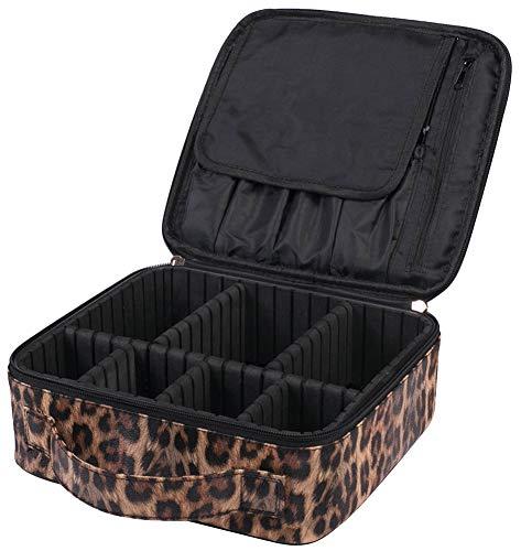 Icegrey Make-up Tassen Draagbare Reizen Cosmetische Case Organizer Marmeren Toilettassen 25x23x9cm Leopard-7 compartments