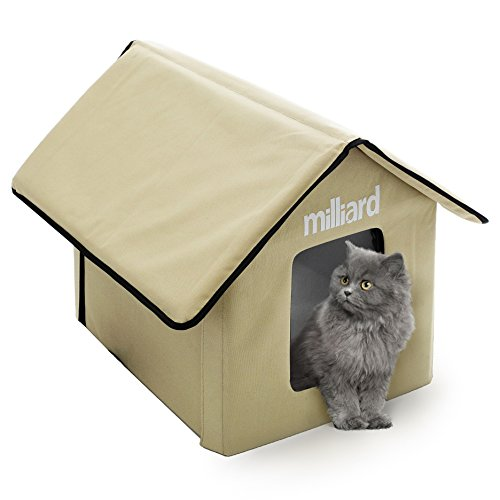Milliard Heated Cat House, Outdoor Pet House Small Dog or Kitty Bed, 22 x 18 x 17 Collapsible, Portable