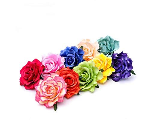 Blumen Haarspangen Rose,10 Stücke Haarclip Blume Mehrfarbig Haarklammer Haarblume Clip für Mädchen Frauen Party Strand Hochzeit