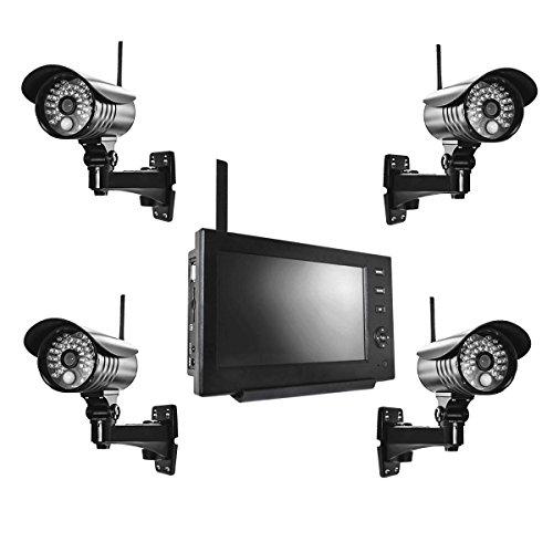 PremiumX Videoüberwachungsanlage mit 4 Kameras und Monitor Funk Videoüberwachung Überwachungskamera Set kabellos