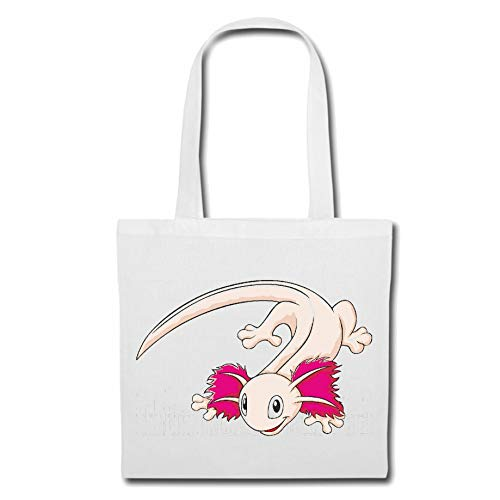 Tasche Umhängetasche LUSTIGE Axolotl - UNTERWASSERMONSTER - AXO - AXOS - Aquarium Einkaufstasche Schulbeutel Turnbeutel in Weiß