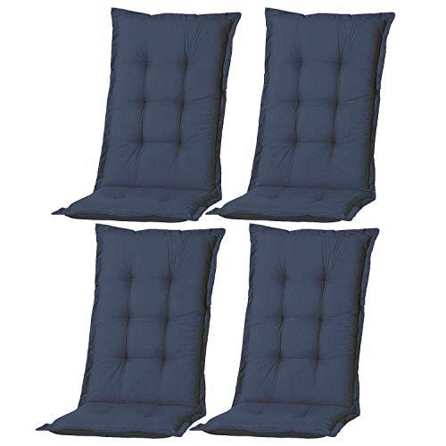 Nordje Hochlehner-Auflagen Comfort Gartenmöbel-Auflage 4er Set | In unterschiedlichen Farben (Blau)