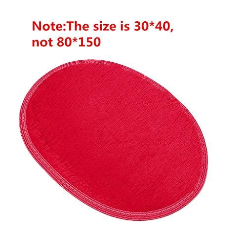 Fami Tapis Ovale pour la Chambre à Coucher Salle de Bains Tapis de Porte de Plancher (30 * 40cm, Rouge)