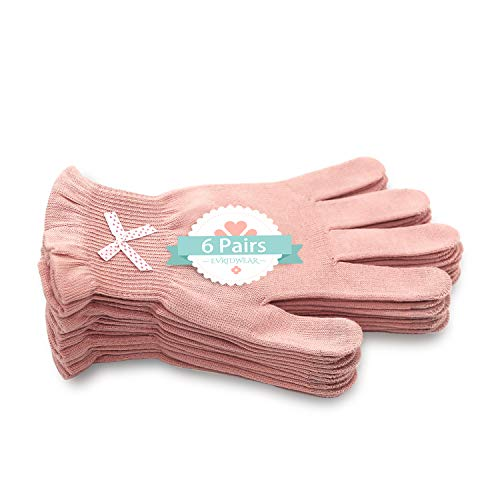 EvridWear 6 Pr/Pack Beauty Cotton Gloves with Touchscreen Fingers for SPA, Eczema, Dry Hands, Hand Care, Day and Night Moisturizing,3 Sizes in Feather or Light Weight (S/M, Light Weight Pink Color)