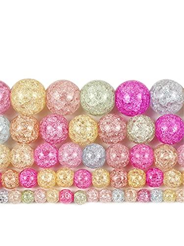Natural Multicolor Crack Piedra de Cristal de Cuarzo Redondo Perlas Sueltas Para Hacer Joyería Frizzling Rock Popcorn DIY Pulsera 15 Pulgadas Multicolor 4mm aprox 93beads