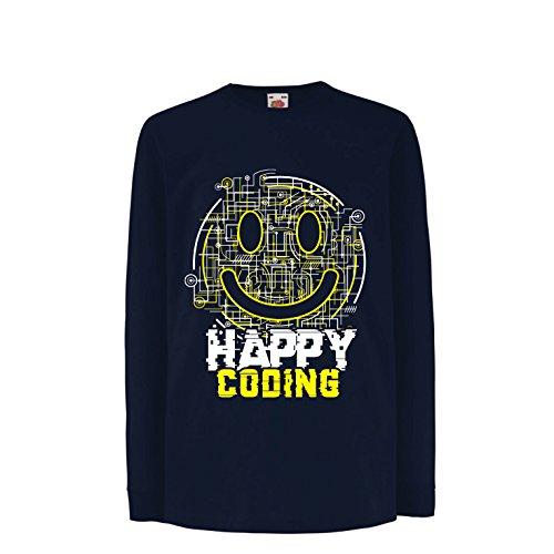 lepni.me Kinder-T-Shirt mit Langen Ärmeln Happy Coding - Smiling Gesicht, Gamer, Programmierer Geschenk (14-15 Years Blau Mehrfarben)