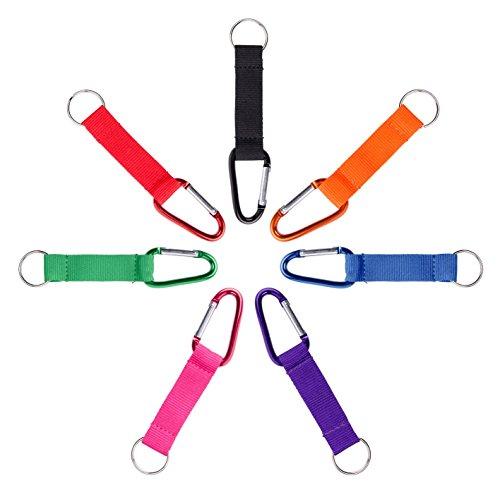Karteo® Schlüsselband | Kurzband Karabiner und Schlüsselring | Schlüsselanhänger rot mit Metallkarabiner