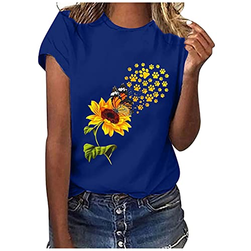 Summer Women Cute Graphic Tshirt Tops Ladies Trendy Casual Loose Fit Short Sleeve Crewneck Sunflower Print Blouse Tee