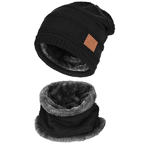 Vbiger Wintermütze Strickmütze Warme Beanie Winter Mütze und Schal mit Fleecefutter für Damen und Herren,S-schwarz+,Einheitsgröße