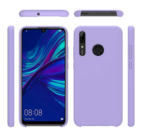 BestST Huawei Psmart Plus 2019 Case Protective, Funda para Huawei Psmart Plus 2019 Carcasa Silicone Skin Case with Protector Pantalla Cristal Templado 9H Dureza,Silicona Suave Colores con…(Púrpura)
