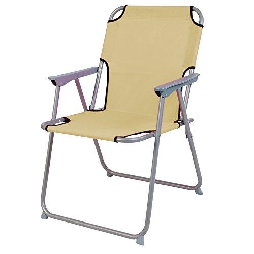 Praktisch en goed. Campingstoel, vouwstoel, stof, beige, camping-klapstoel, visstoel, regiestoel, visstoel, metaal