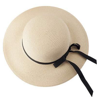 Cappello da Donna Estivo Cappello da Pescatore con Fiocco in Nastro Coreano Cappello da Spiaggia Marea Cappello di Paglia per Le Vacanze all'aperto