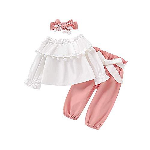 Peuter Kids Baby Meisje Uit Schouder Lange Flared Sleeve Effen Kwastje Toppen+Strappy Pants+Kwastje Hoofddeksels Outfits