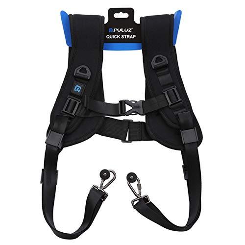 LEDMOMO Cinghia da cintura a doppia tracolla per 2 fotocamere reflex digitali DSLR