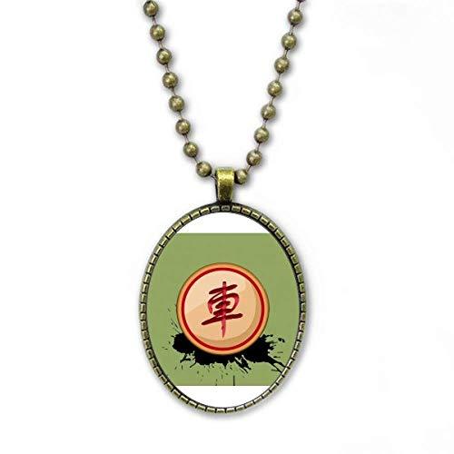 Chinesische Schach Rote Generäle Halskette Vintage Chain Bead Anhänger Schmuckkollektion