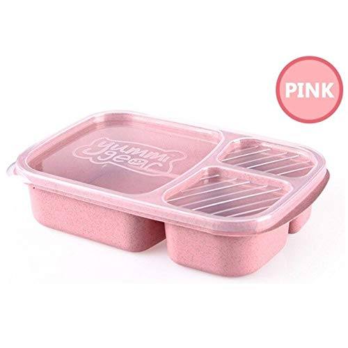 KKSB 1pc Wheat Straw Lunchbox 3 Grilles avec Lid Fruit Food Box Storage Container Biodégradable Bento Lunch Boxes for Kids Dinnerware Rose