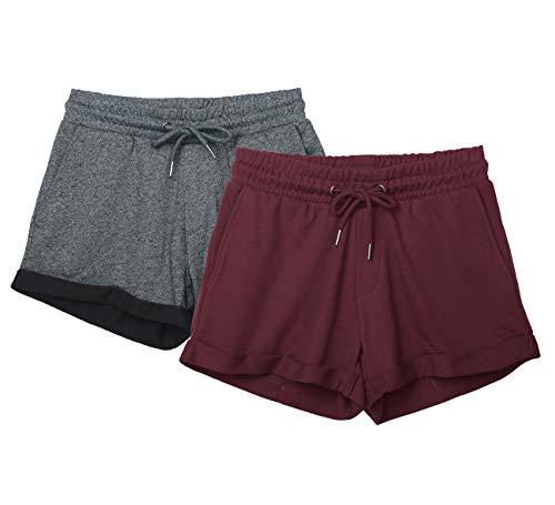 icyzone Damen Sweatshorts 2er Pack Kurze Sporthose Gym Fitness Shorts (M, Charcoal/Wine)