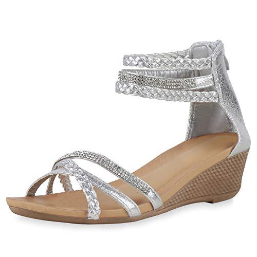 SCARPE VITA Damen Sandaletten Strass Keilsandaletten Metallic Sommer Schuhe Keilabsatz Sommer-Sandaletten Sommer-Schuhe 196431 Silber Total 38
