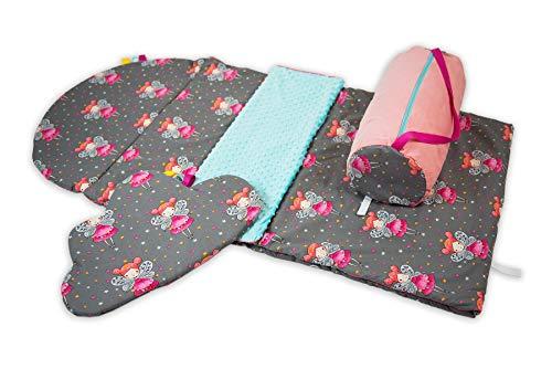 BabyBoom Schlafsack für Kinder, Krippe, Kindergarten, Zuhause/für Frühling & Sommer / 100% Baumwolle + MINKY / 75x145 cm + flaches Kissen inkl. Tasche/made in EU (Feen - mint)