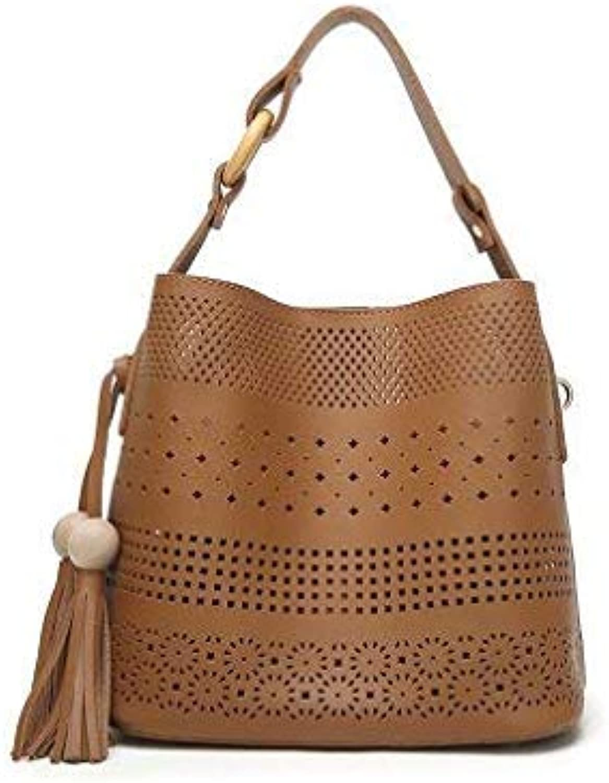 Bloomerang YBYT Brand New Casual Simple Women Totes Hollow Out Composite Bag Ladies Handbags Satchel Shoulder Messenger Crossbody Bags color Brown 26cmX15cmX24cm