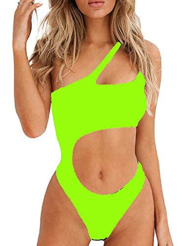 Ducomi Joy Costume Intero Donna - Costumi da Bagno Interi - Bikini Monospalla con Cut-out in Vita, Top Push Up Imbottito e Brasiliana - Beachwear Sexy per Mare e Piscina (Green, S)