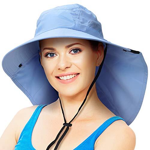 Sombrero de sol para hombre con protección UV de ala ancha gorra de senderismo con cubierta de solapa para el cuello