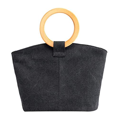 Handtassen Hout Ronde Top-Handvat Tas Canvas Vrouwen Emmer Tas Vrouwelijke Grote Tassen Winkeltassen