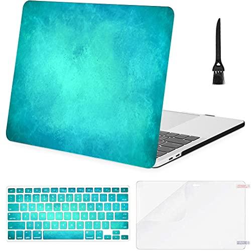 Carcasa rígida de plástico con Cubierta de Teclado para Mac Fundas de Libros Azul Teal Color Art Acuarela Compatible con Macbook Air 11'13' Pro 13'15' 16'2008-2020 Ver